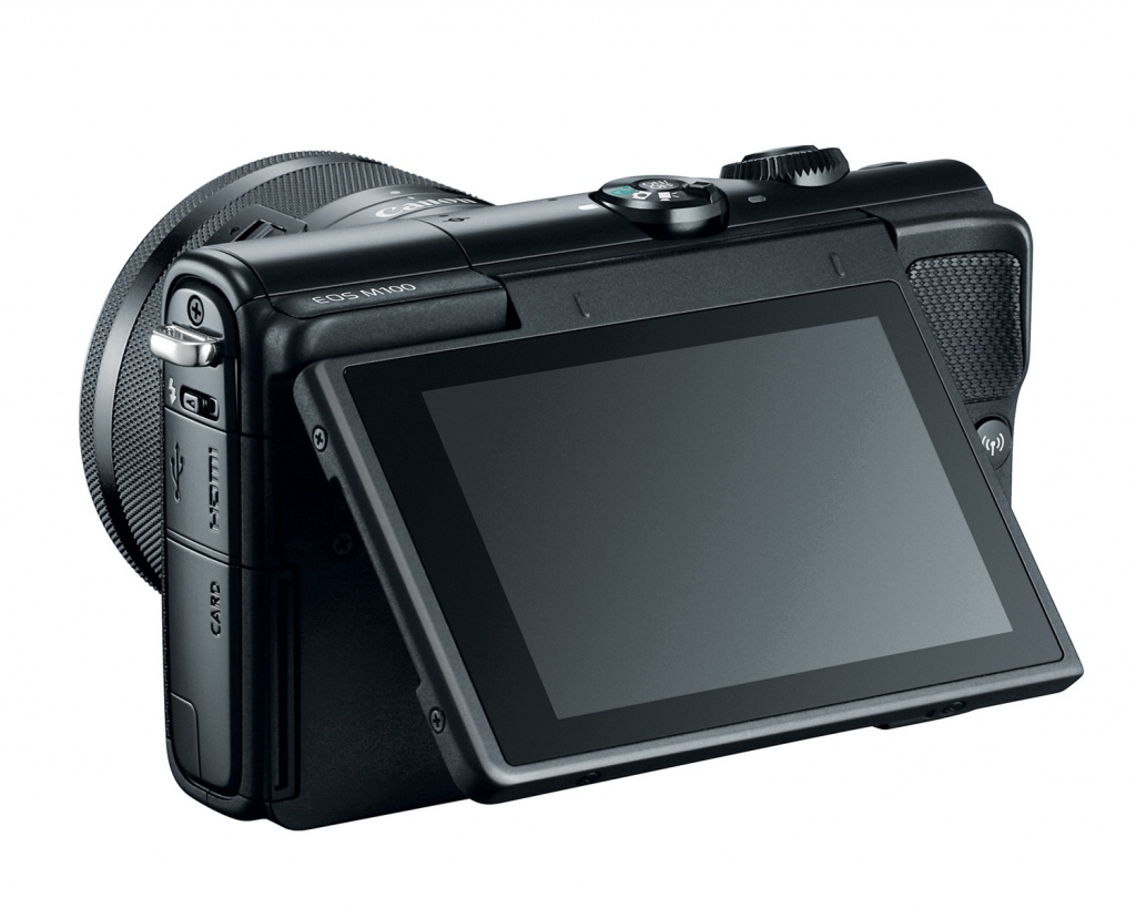 The Canon EOS M100's LCD monitor can be adjusted to various angles to aid composition.