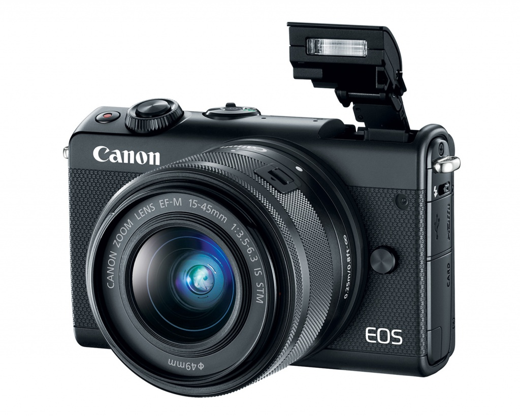 The pop-up flash of the Canon EOS M100.