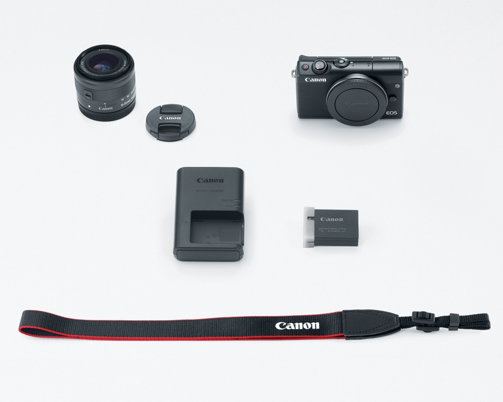 The Canon EOS M100 kit with its 15-45mm lens.