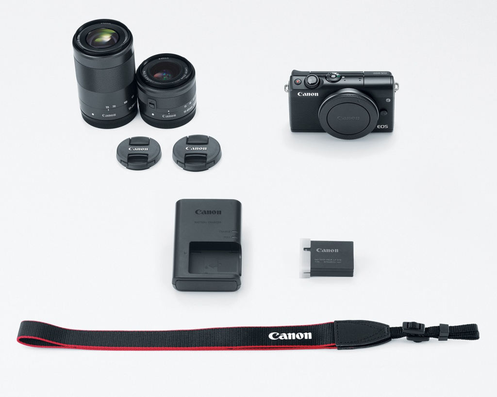 The two-lens Canon EOS M100 kit includes the 15-45mm and 55-200mm lenses.