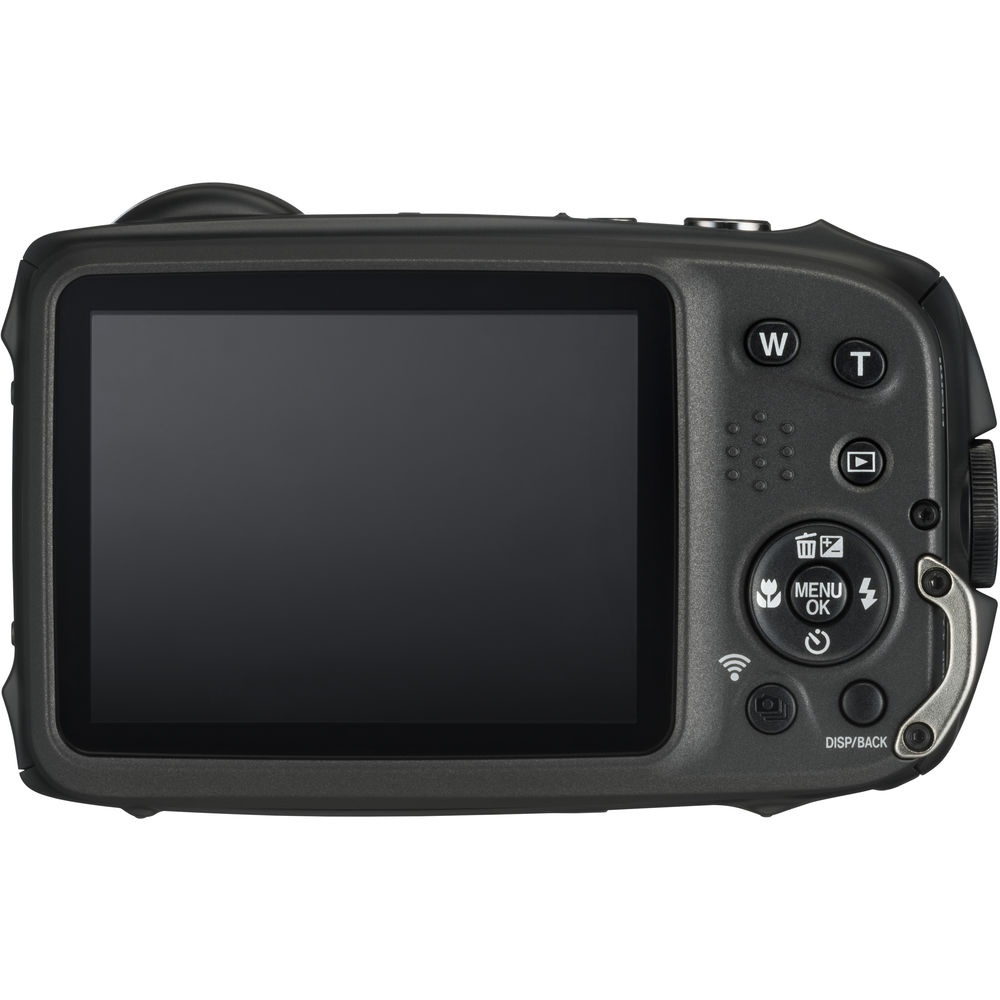 The rear of the Fujifilm Finepix XP130 has a 3.0-inch LCD monitor and larger buttons.