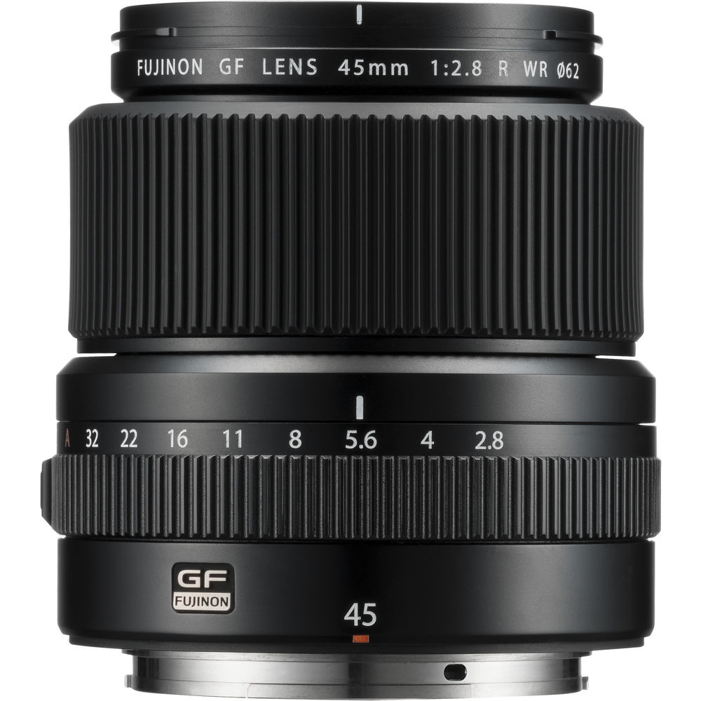 The Fujinon f/2.8 GF45mm R WR is weather resistant, as its name indicates.