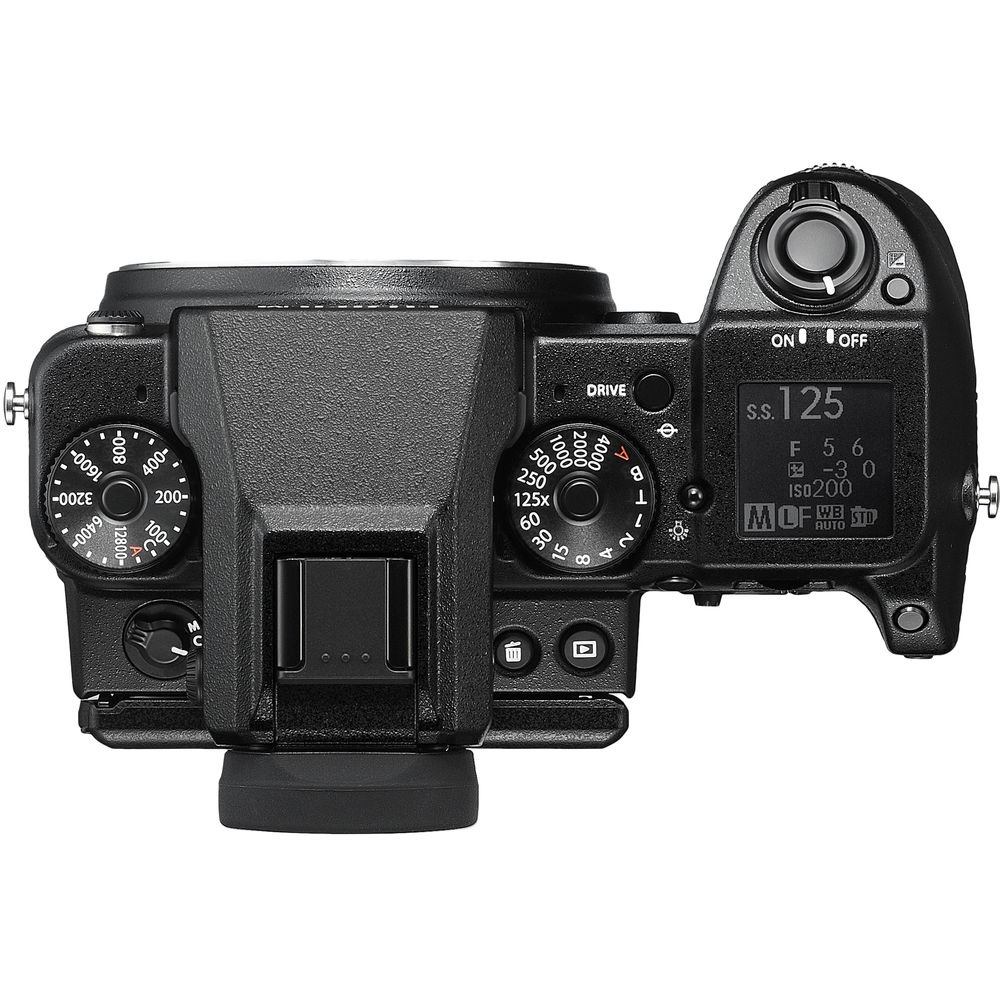 The top deck and controls of the Fujfilm GFX 50S.