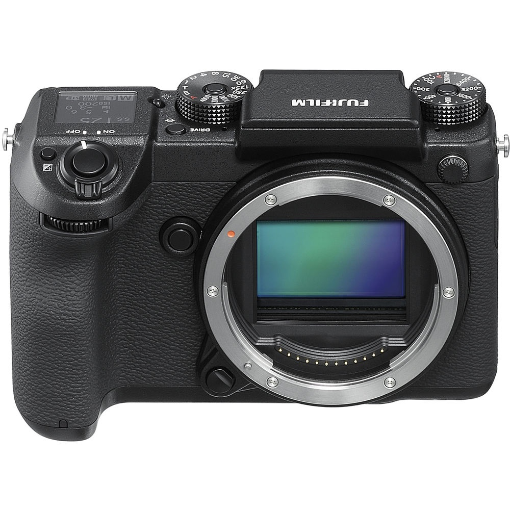 The Fujfilm GFX 50S without its electronic viewfinder attached.