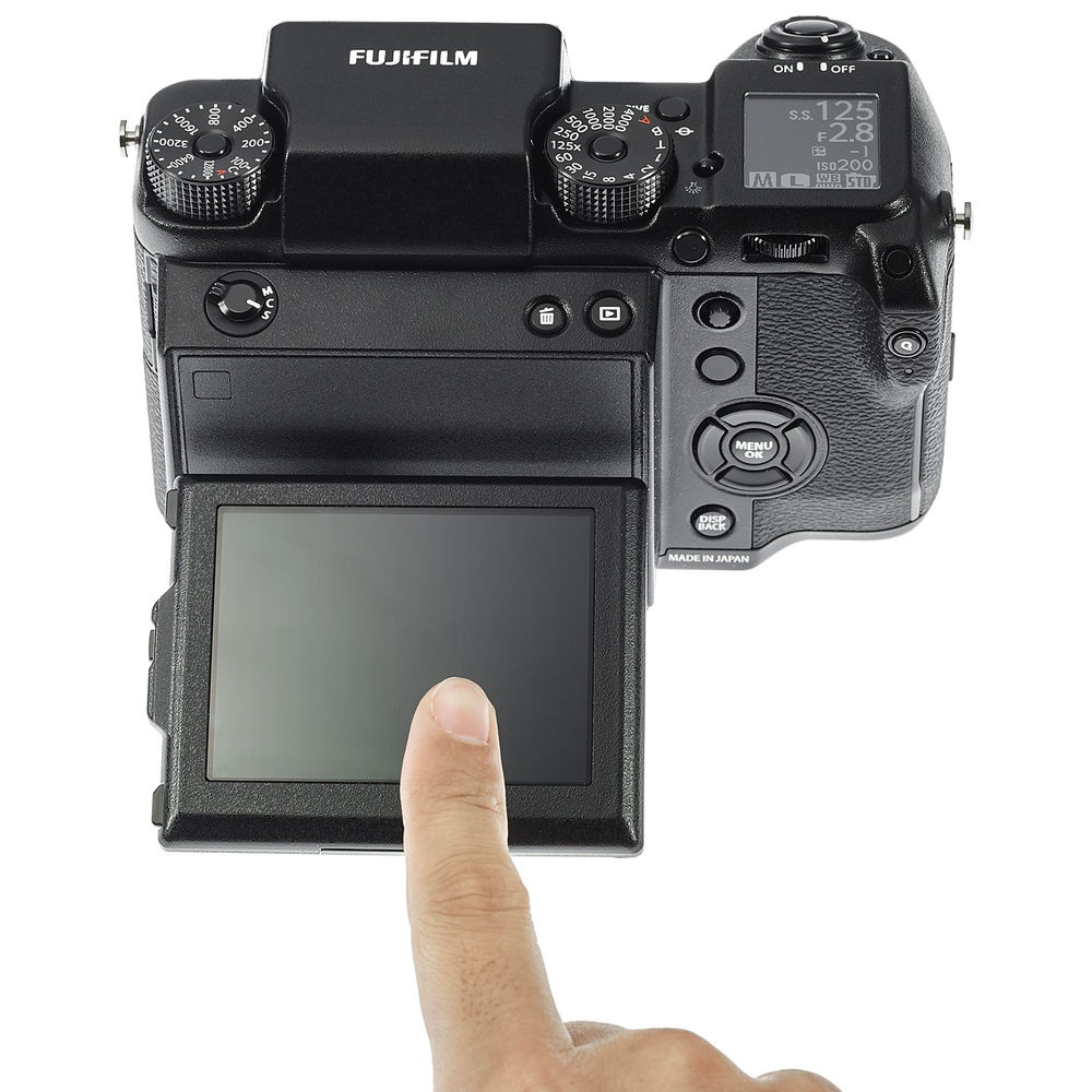 The Fujfilm GFX 50S's 3.2-inch LCD monitor tilts and is touch-enabled.