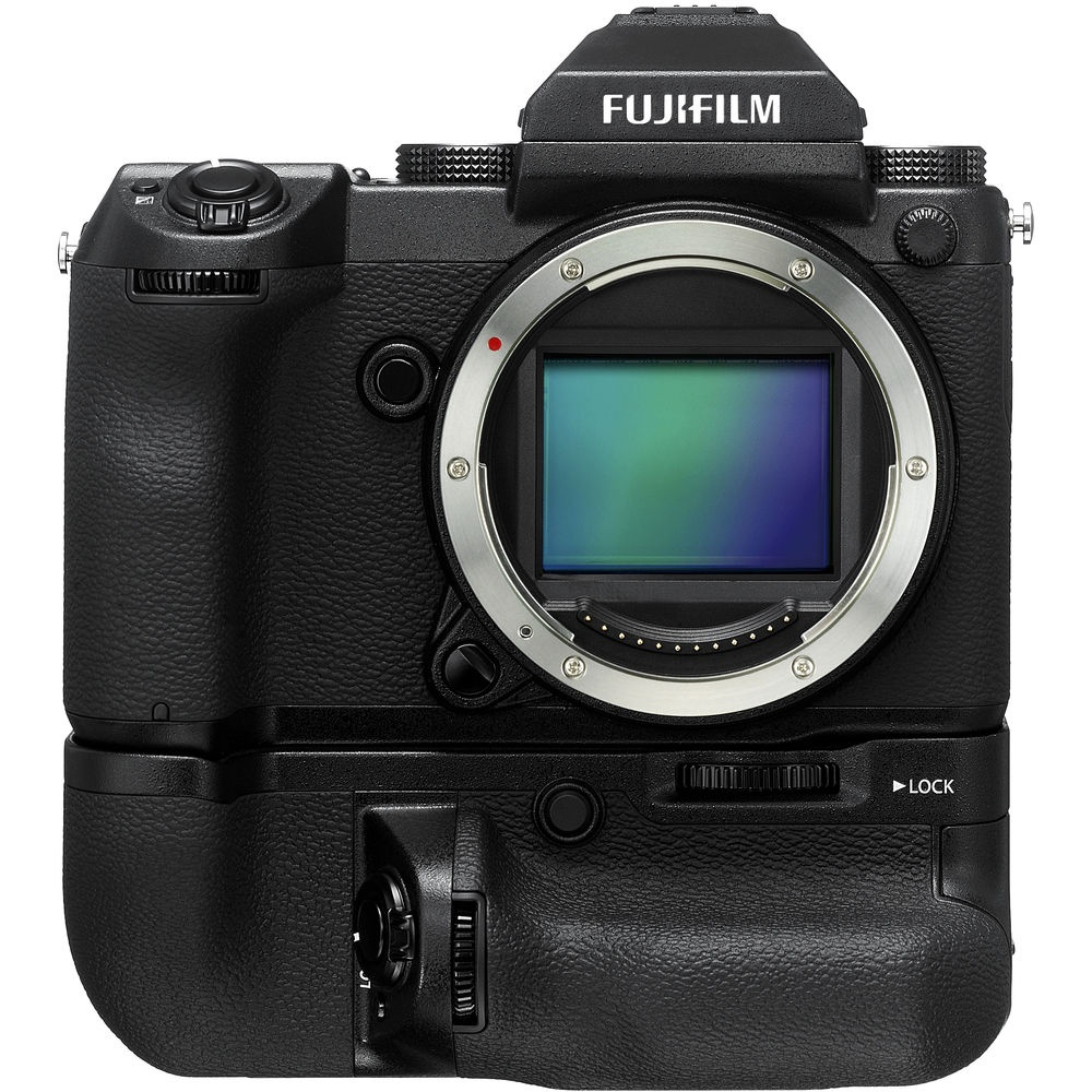 The Fujfilm GFX 50S with its battery grip mounted.