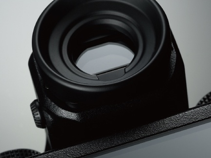 The eyepiece of the Fujfilm GFX 50S's electronic viewfinder.
