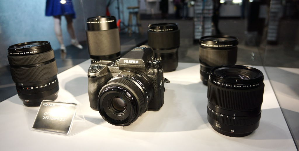 The Fujfilm GFX 50S and five of its six lenses is seen at PhotoPlus Expo 2016.