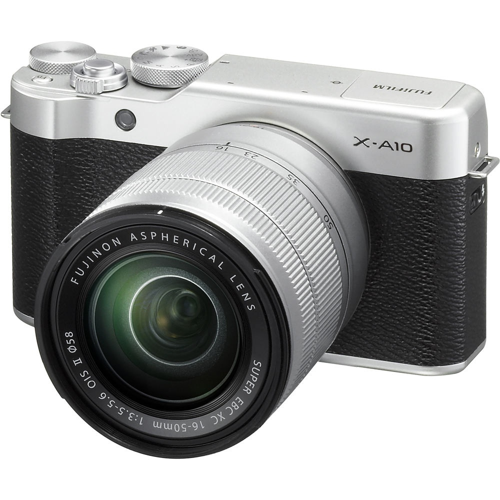 The Fujifilm X-A10 comes with a 16-50mm kit lens.