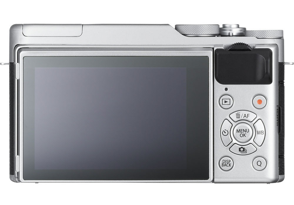 The back of the Fujifilm X-A10 and the controls.