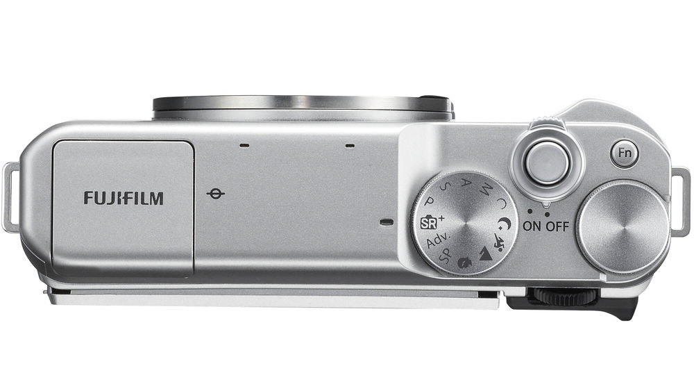 The top deck and controls of the Fujifilm X-A10.
