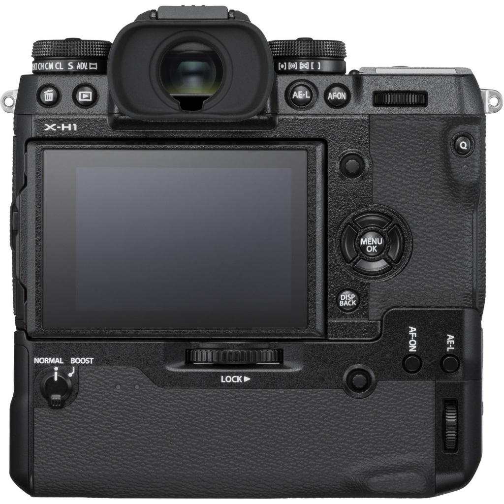 The rear LCD and controls of the Fujifilm X-H1.