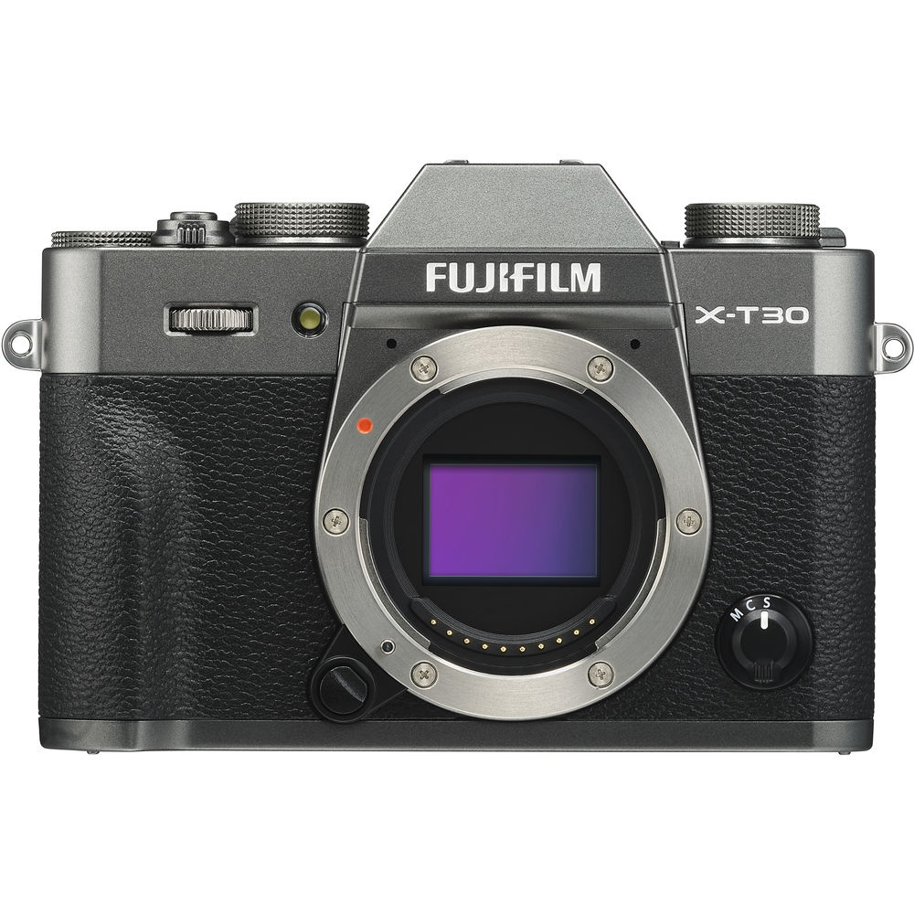 The Fujifilm X-T30 is seen in graphite.