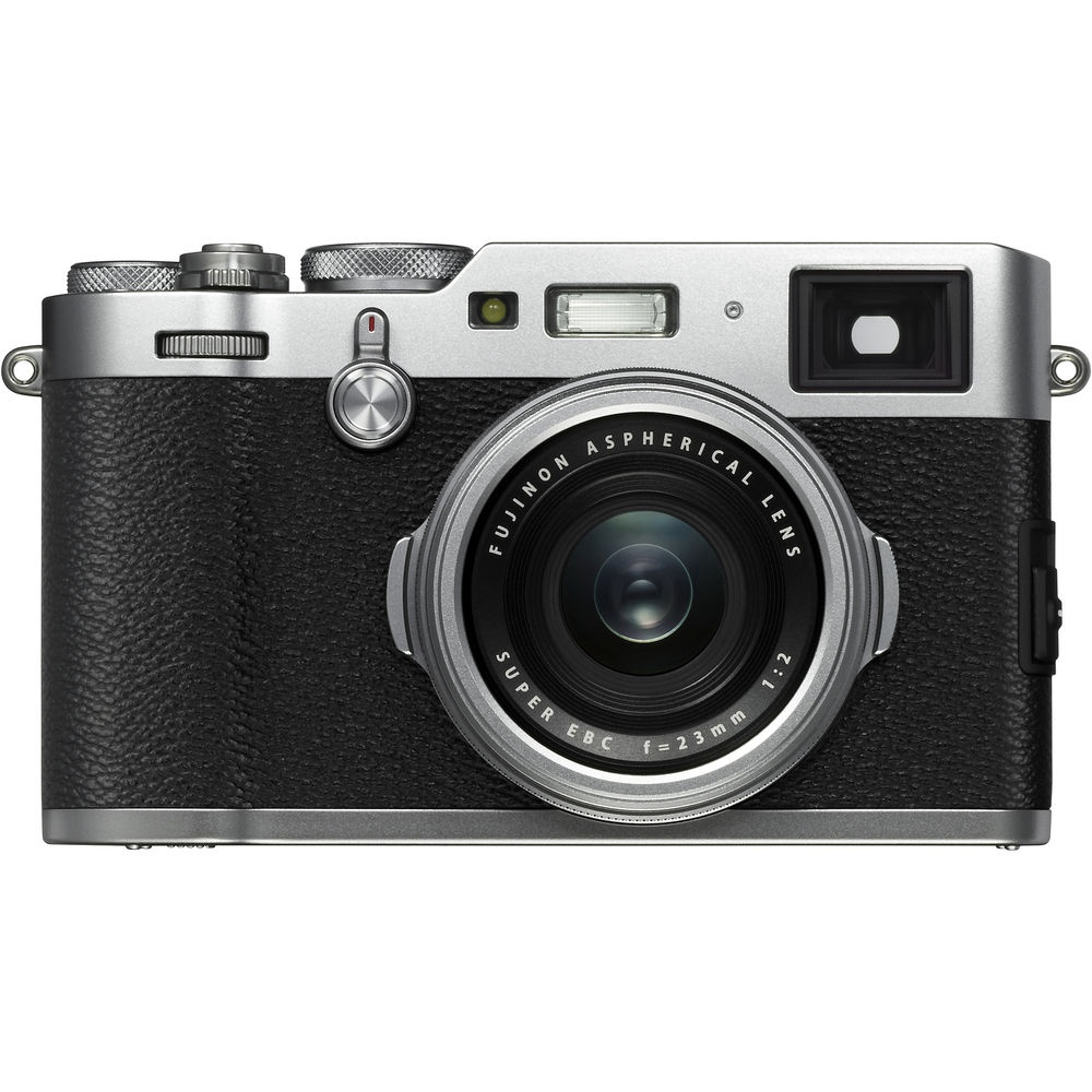 The Fujifilm X100F has a fixed 23mm lens (35mm full-frame equivalent).
