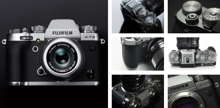 This promotional photo shows the Fujifilm X-T2 Graphite Silver Edition.