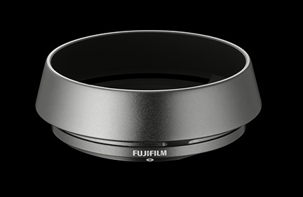 The graphite-colored lens shade for the Fujifilm 23mm lens.