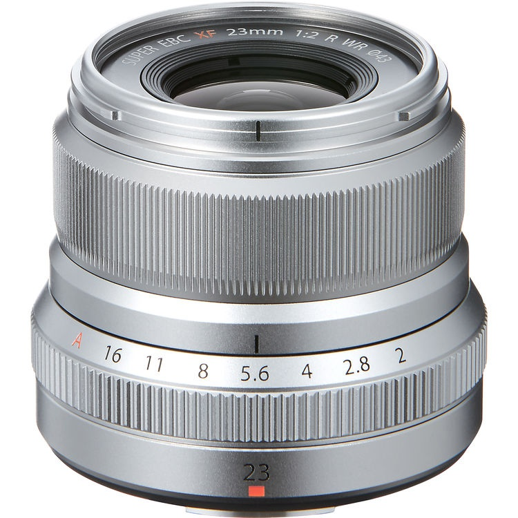 The Fujinon XF23mmF2 R WR in silver.