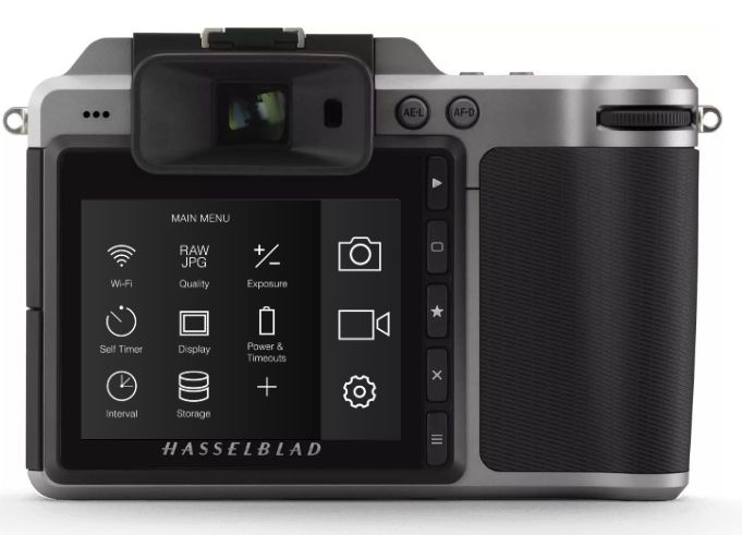 The Hasselblad X1D's 3.0 inch LCD is fixed. It has touchscreen controls. The camera also has an electronic viewfinder.