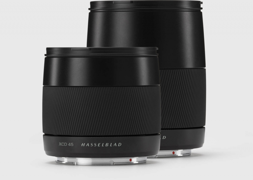 Hasselblad created a new line of lenses - XCD - for the X1D. The first two lenses are a 45mm, left, and a 90mm.