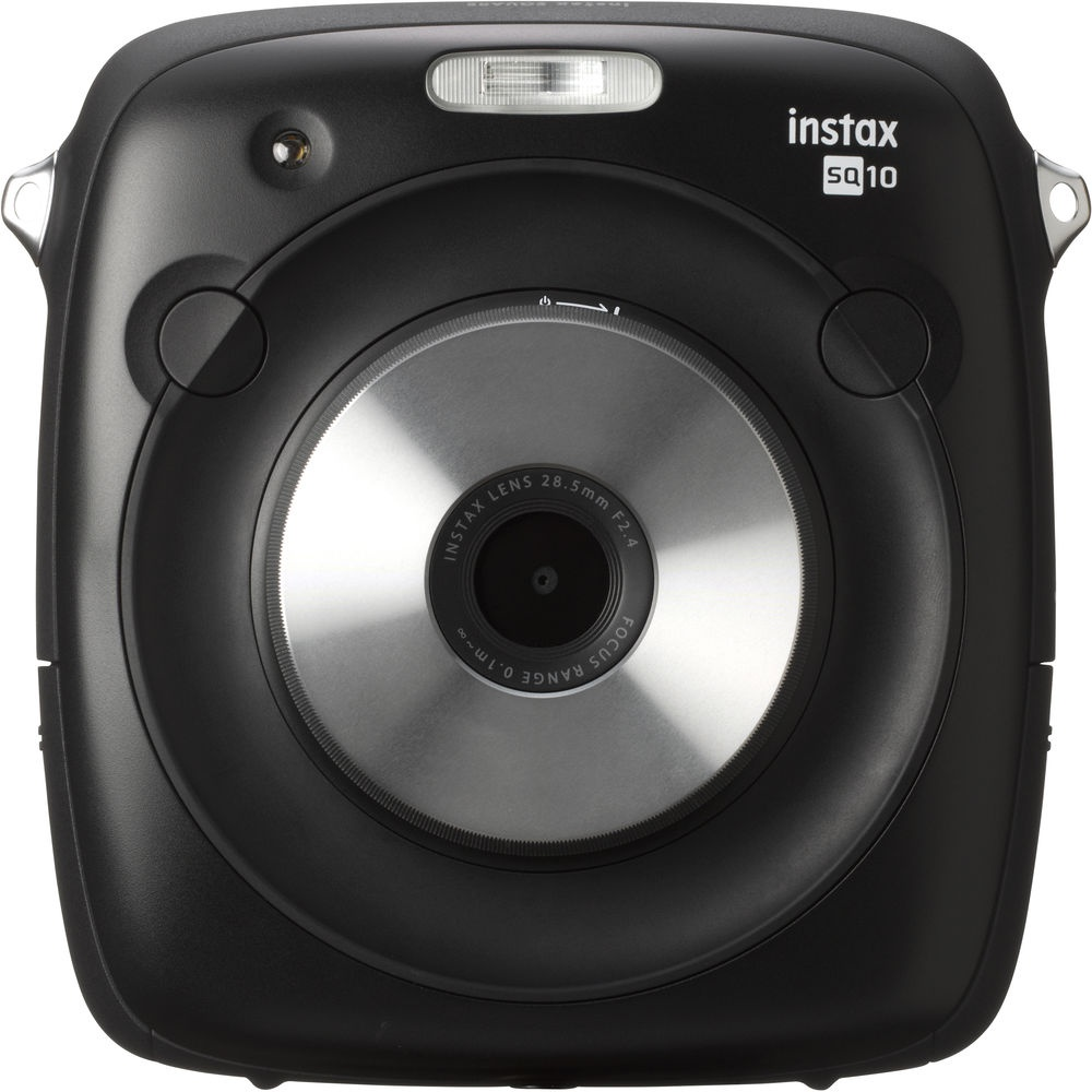 The Fujifilm Instax Square SQ10 has shutter releases above and on either side of the lens.