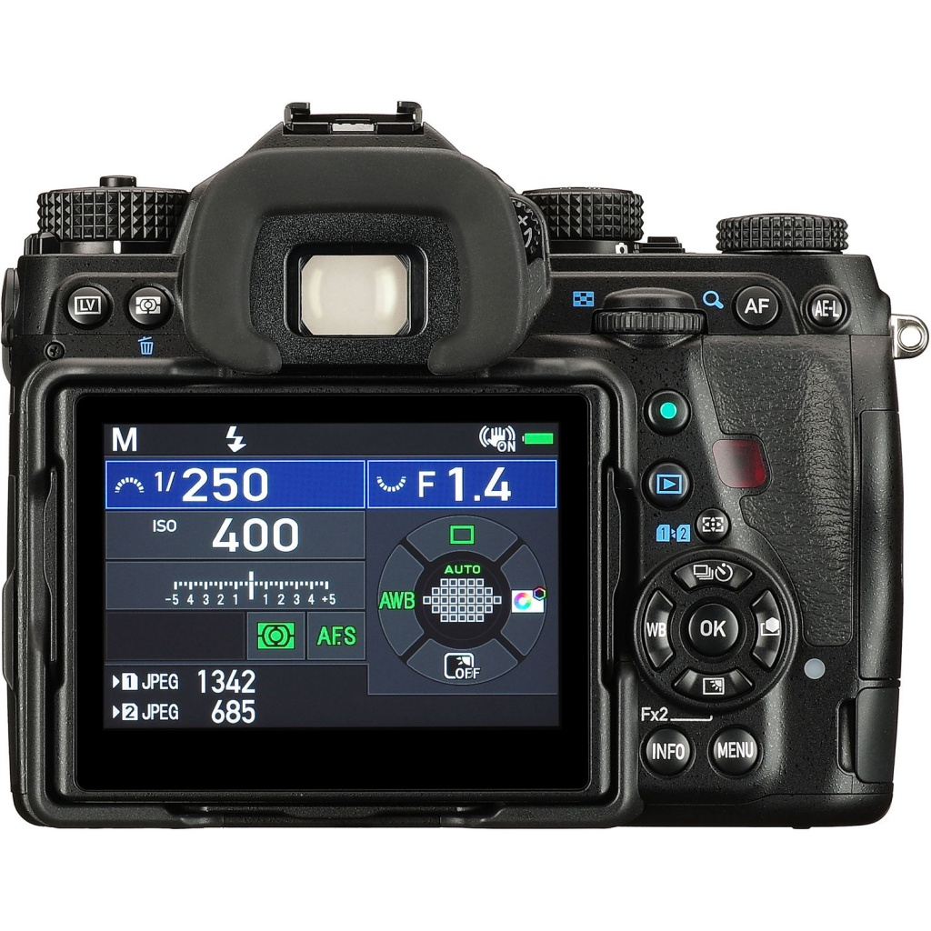 The 3.2-inch LCD monitor and controls of the Pentax K-1 II.