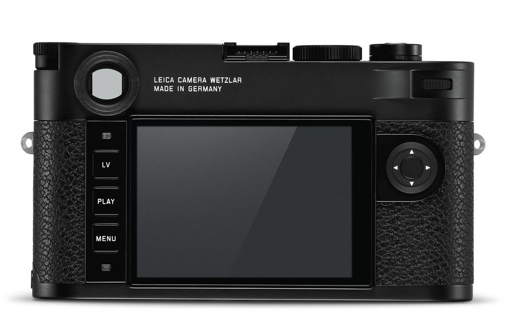 The back of the Leica M10 has a 3.0-inch LCD monitor and just a handful of switches.