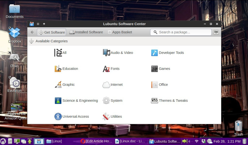 The Lubuntu Software Center allows you to search for software either by category or by typing a name in the search field.