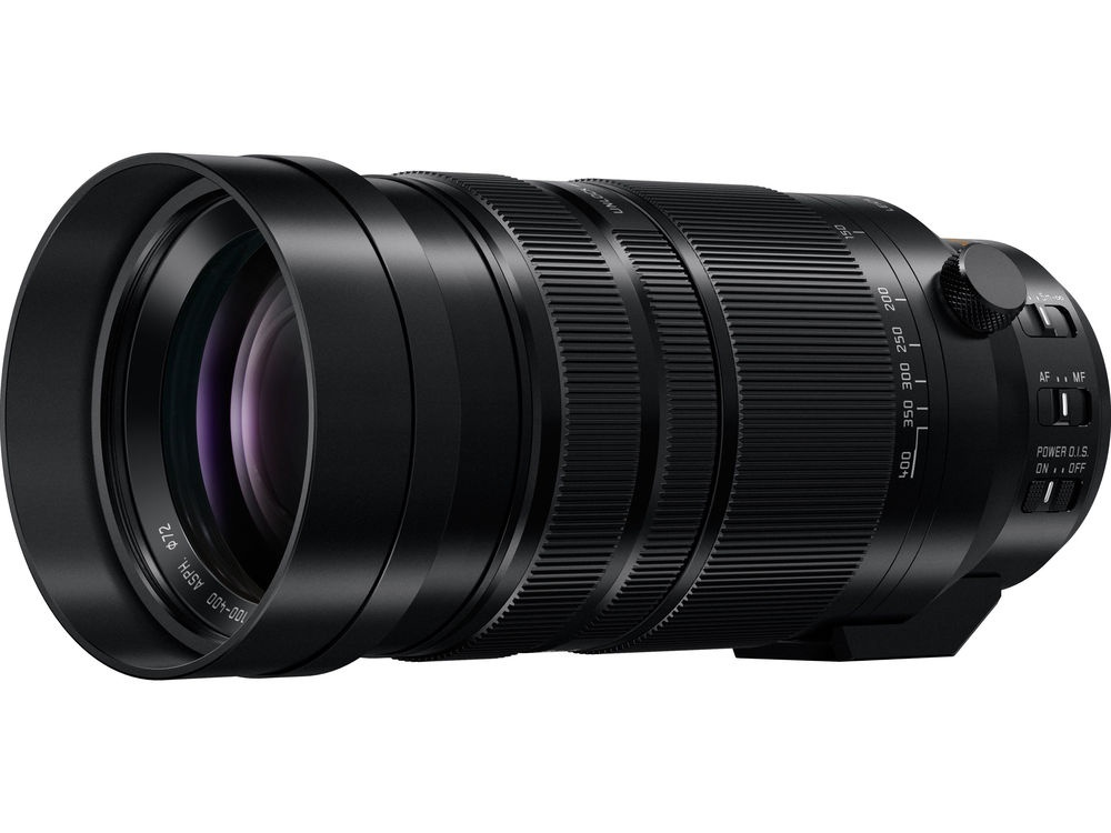 The built-in lens shade of the Panasonic Lumix Leica Vario-Elmar 100-400mm in its extended position.