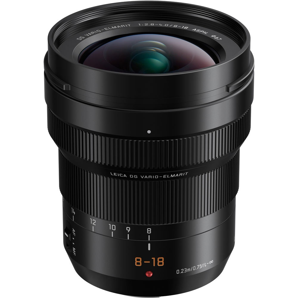 The Lumix G Leica DG Vario-Elmarit Professional Lens f/2.8-4.0 8-18mm ASPH is a 16-35mm full-frame equivalent optic.