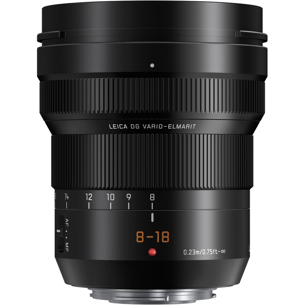 The Lumix G Leica DG Vario-Elmarit Professional Lens f/2.8-4.0 8-18mm ASPH uses Leica's typeface for barrel markings.