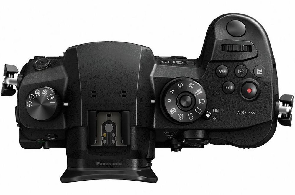 The top deck and controls of the Panasonic Lumix GH5.