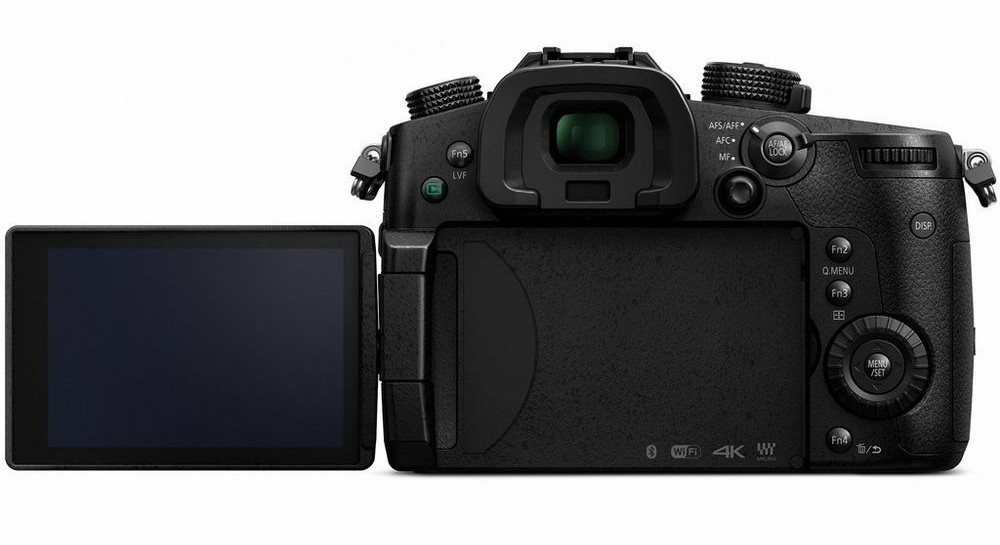 The 3.2-inch LCD monitor swings out away from the Panasonic Lumix GH5 and rotates.