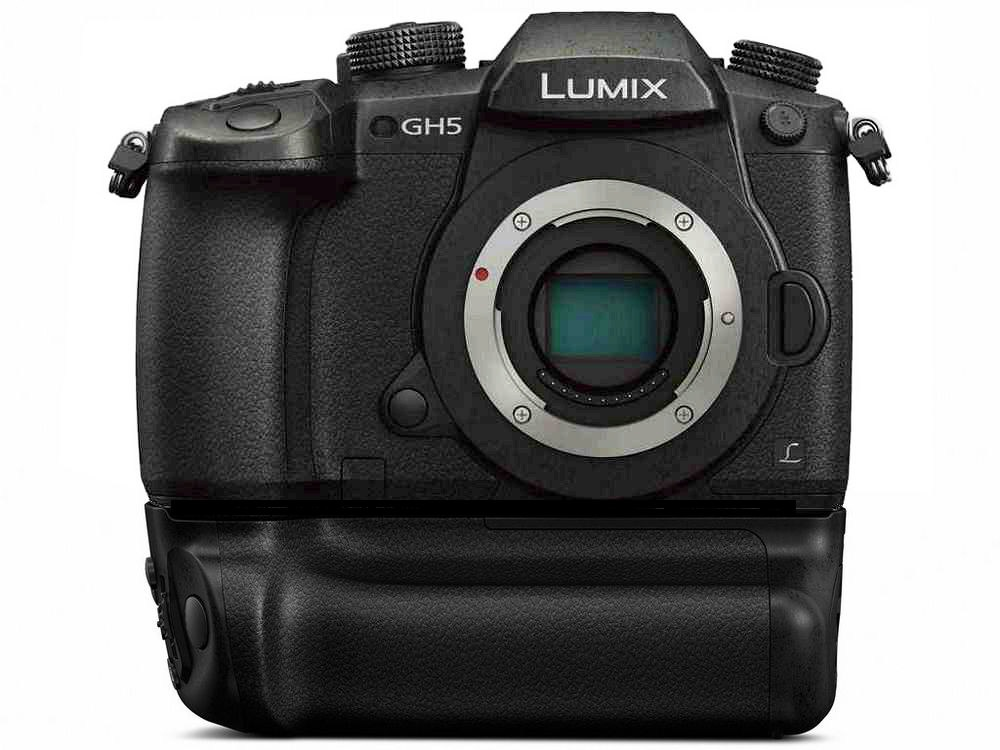 The battery grip is seen mounted to the Panasonic Lumix GH5.