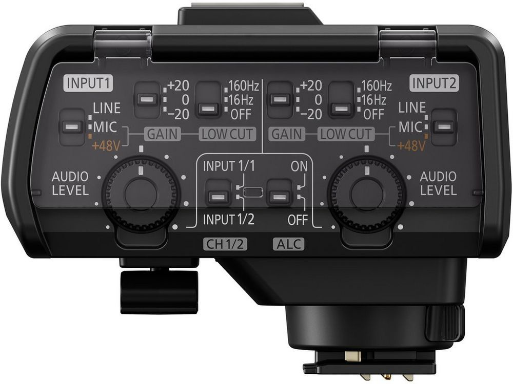 The audio level controls for the Panasonic Lumix GH5 optional micorphone adapter.