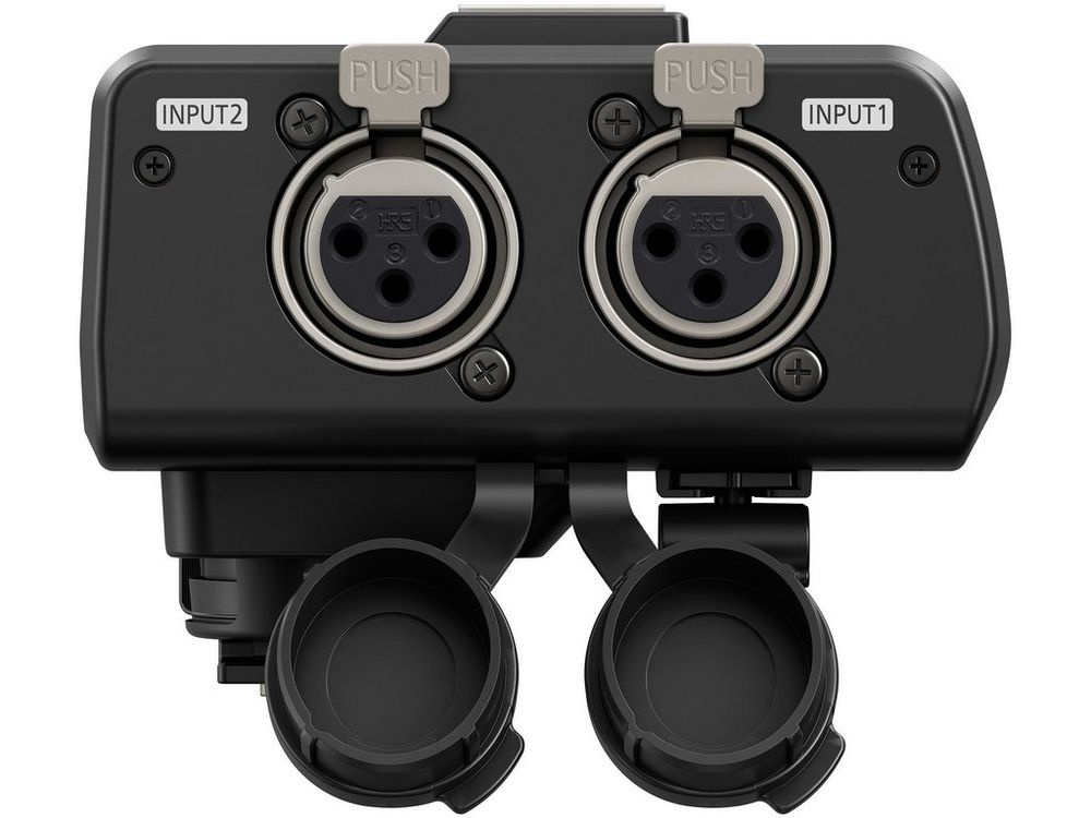 The XLR inputs for the Panasonic Lumix GH5 optional microphone adapter.