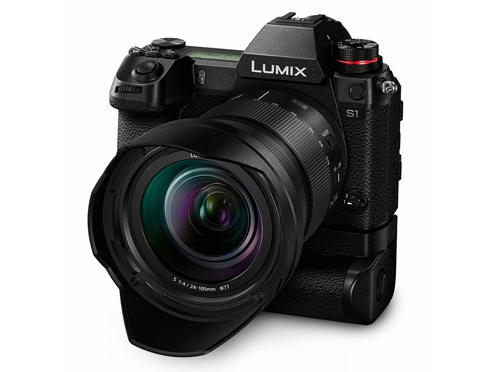 Another view of the Panasonic Lumix S1 with its 24-105mm lens with the optional battery grip.