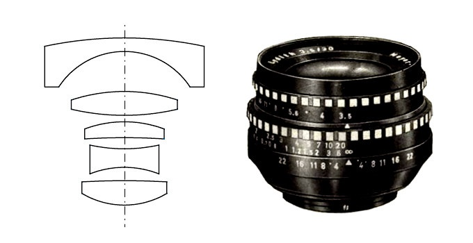 The lens design of the so-called classic Meyer-Optik 30mm Lydith.