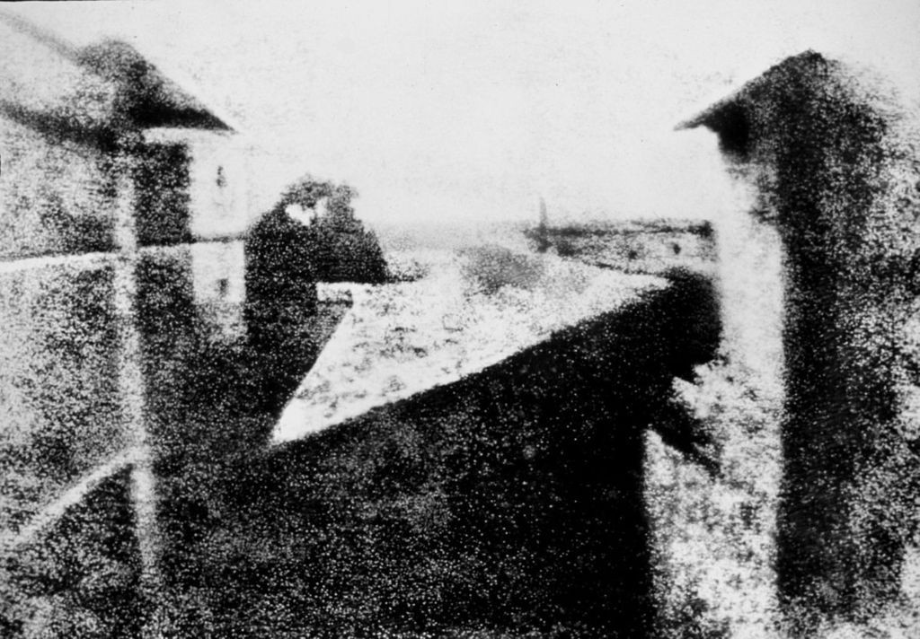 This is widely credited as being the world's first photograph. Likely taken in 1826 by Joseph Nicephore Niepce, it now is owned by the Harry Ransom Humanities Research Center, University of Texas, Austin.