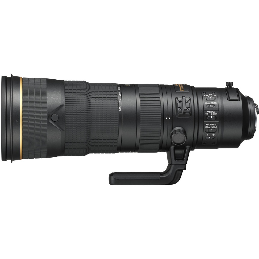 The AF-S Nikkor 180-400mm f/4 E TC1.4 FL ED VR has a built-in 1.4x teleconverter and tripod collar.