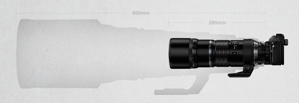 In this graphic taken from Olympus' website, the M.Zuiko ED 300mm f4.0 IS PRO is compared with a full-frame 600mm lens.