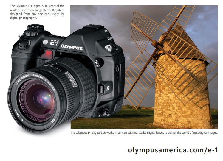 The Olympus E-1 was the first digital camera to use the half-frame Four Thirds sensor.