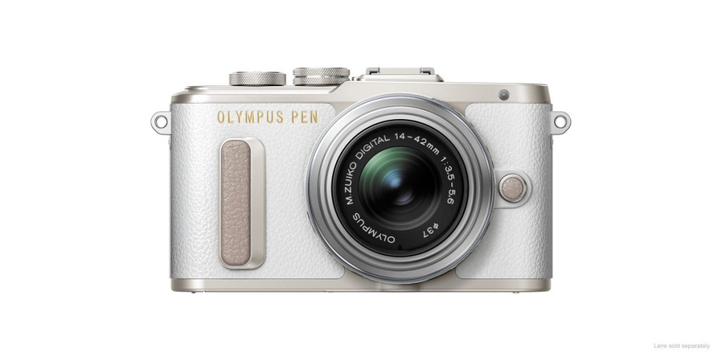 The Olympus Pen E-PL8 in white.