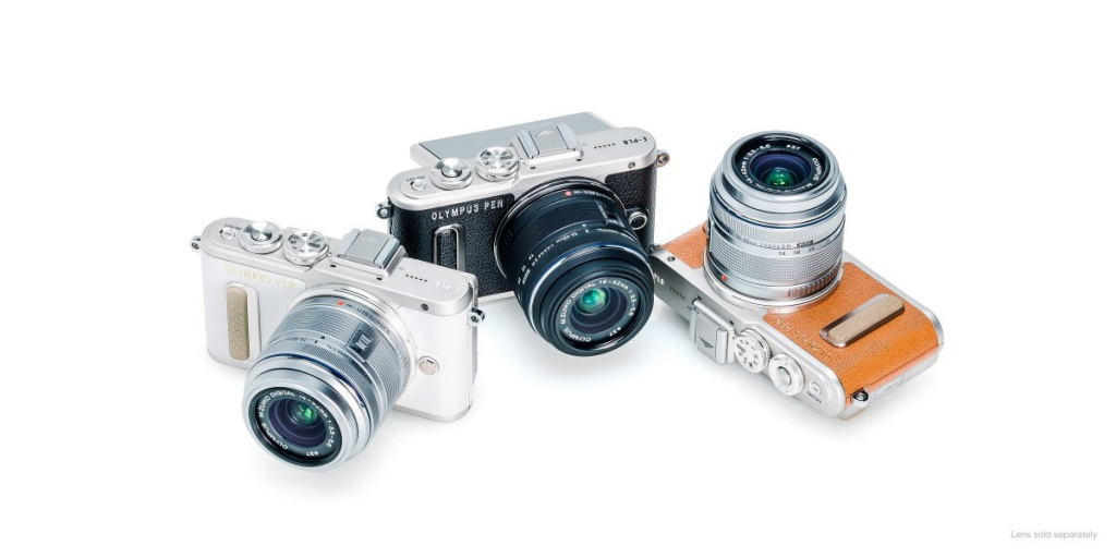 The Olympus Pen E-PL8 in the three available colors, from left, silver, black and brown.