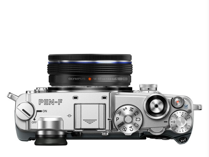 The top deck and controls of the Olympus PEN-F.
