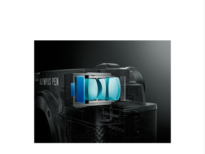 The Olympus PEN-F's electronic viewfinder.