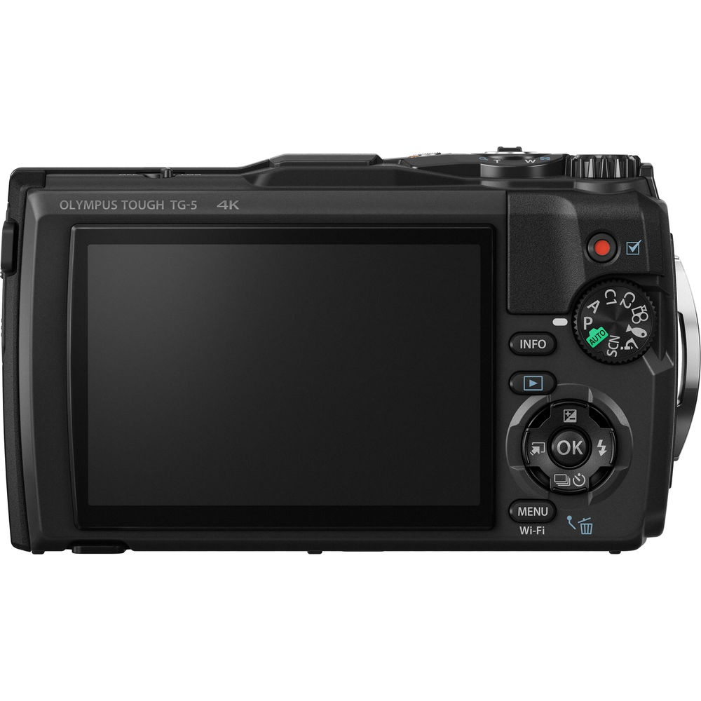 The rear controls on the black version of the  Olympus Tough TG-5.