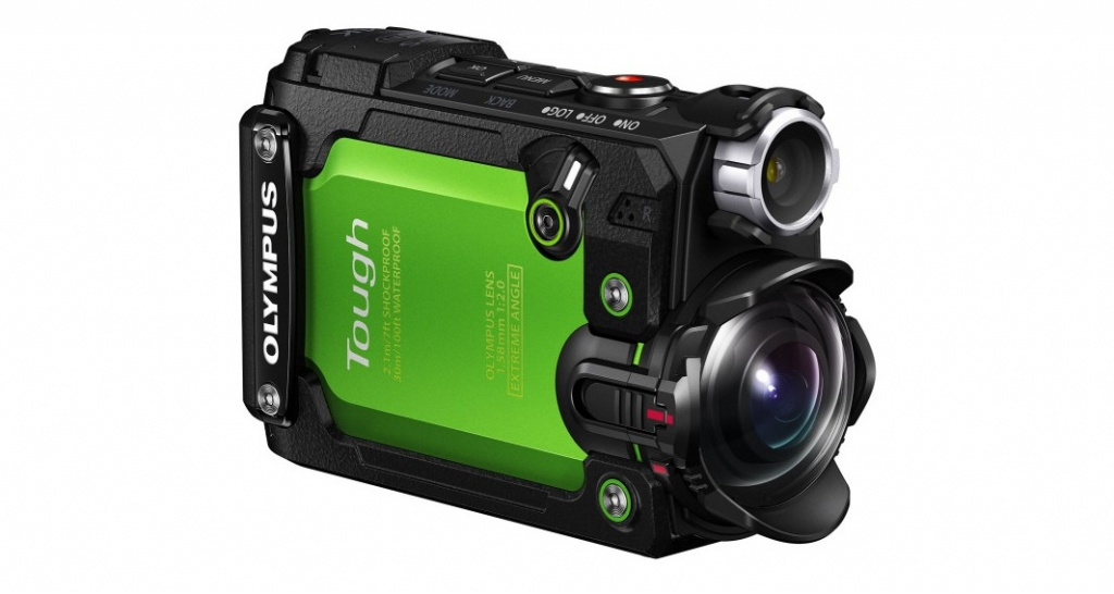 The Olympus Tough TG-Tracker is also available with lime green highlights.