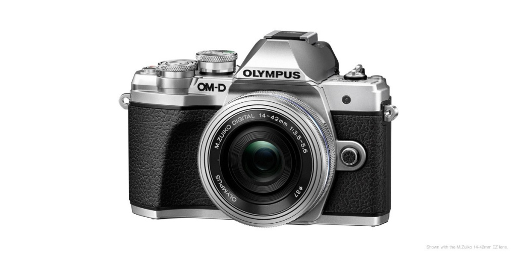 The Olympus OM-D E-M10 Mark III is seen with its 14-42mm EZ kit lens.