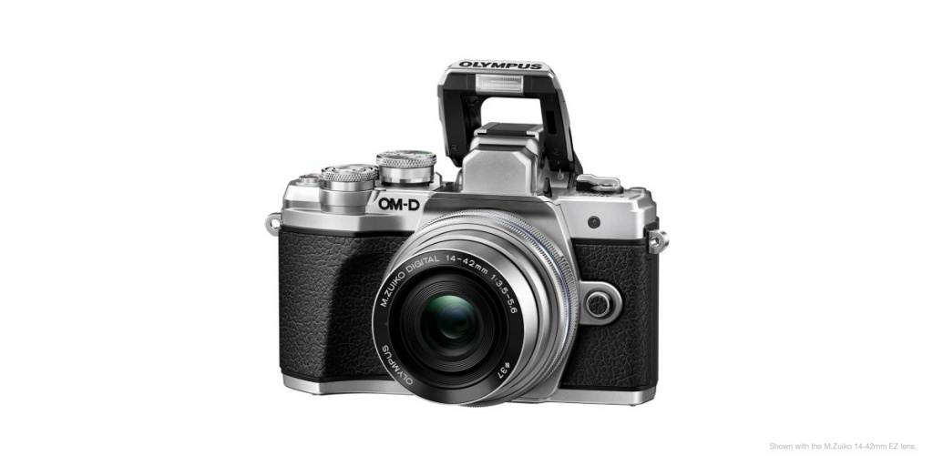 The Olympus OM-D E-M10 Mark III has a small pop-up flash, as well as a hot shoe.