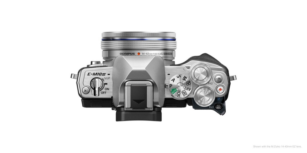 The top deck and controls of the Olympus OM-D E-M10 Mark III.